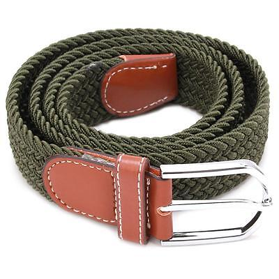 Chic Men Women Elasticated Woven Braided Stretch Webbed Belt Leather Buckle - 6A