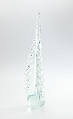 "New Large 12"" Hand Blown Art Glass Christmas Tree Sculpture Figurine Clear"