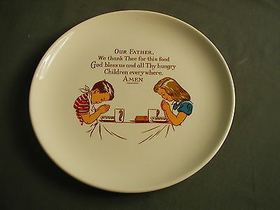 Ceramic Plate - Boy & Girl Praying At Table - Our Father... - Tst Versatile Usa