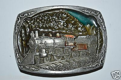 WOW Vintage 1991 Color Inlaid TRAIN Locomotive Railroad Solid Heavy Belt Buckle
