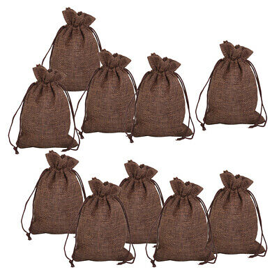 10 Small Burlap Jute Drawstring Jewelry Packing Pouch Wedding Gift Bags Sack