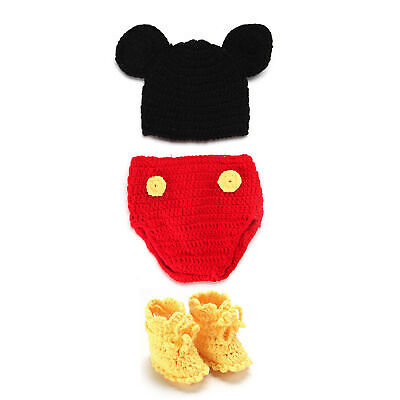a2c37dcb3ea Newborn Baby Crochet Knit Costume Photography Photo Prop Hat Outfit - Mickey
