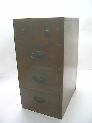 Antique Chestnut Wood Office Chest Box Japanese Drawers Circa1930s #336