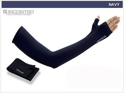 Tactel Thumb Cooling Arm Sleeve UV Sun Protection Compression Hand Cover Navy