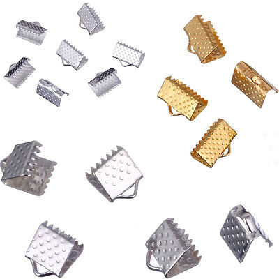 60/70/80PCS 6mm 8mm 10mm Cord Silvery Golden Cord Crimp Ends Findings with Teeth
