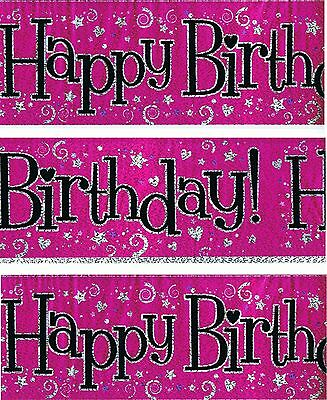 Happy Birthday Banner Pack Pink Foil & Black  Party Decorations (Bgc) 56