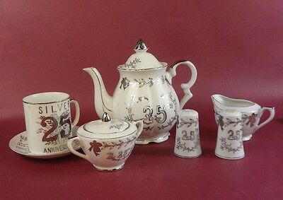Lefton China 25Th Anniversary 7 Piece Tea Set Made In Japan