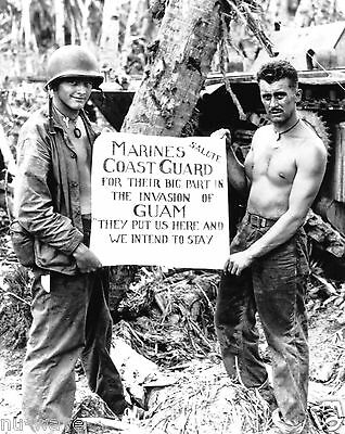 US Marines show appreciation to the Coast Guard during the invasion of Guam 1944