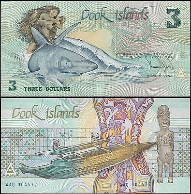 Cook Islands $3 Dollars (Aitutaki), 1987, P-3, UNC
