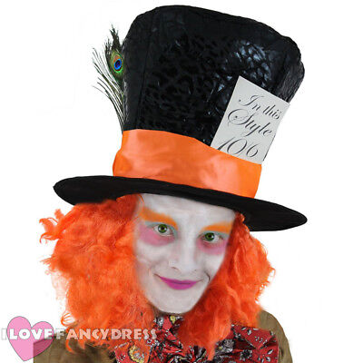 Deluxe Mad Hatter Top Hat Orange Wig Hair Fancy Dress Costume Accessory