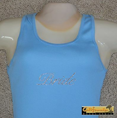 """BRIDE"" Light Blue Tank Top American Apparel Shirt Wedding Junior Womens Size"