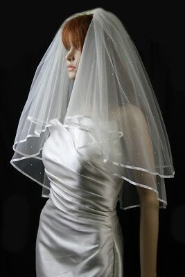 Bridal Veil White 2 Tiers Elbow Length Satin Ribbon Edge Scattered Rhinestones