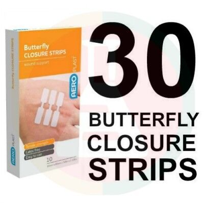 3 X FIRST AID BAND AID BUTTERFLY CLOSURES (10 pk) BULK VALUE SUPER ADHESION
