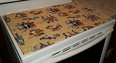 Tan Beach Cats Themed Glass Stove top / Cook top Cover & Protector