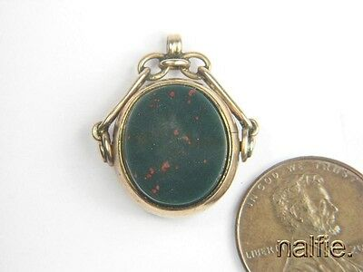 ANTIQUE ENGLISH EDWARDIAN 9 CARAT GOLD AGATE SPINNER FOB c1906