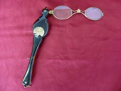 19C. GOLD & BRONZE & HORN LORGNETTE SPECTACLES EYEGLASSES w/MINI PORTRAIT RARE