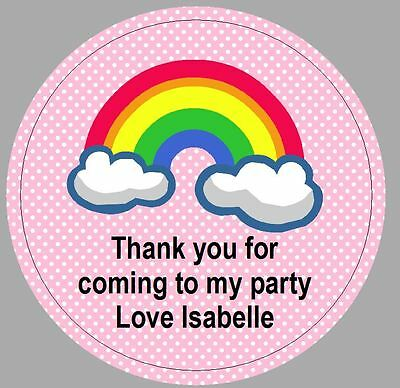 24 x 40mm personalised stickers round rainbow pink labels party seals