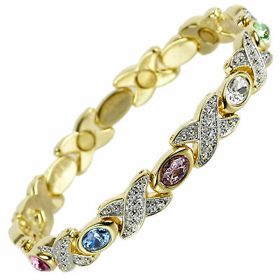 New Ladies Magnetic Bracelet Pretty Coloured Crystals Gift Boxed Health Therapy
