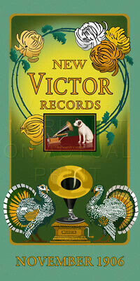 """8.5"""" X 17"""" Reproduced Victor Talking Machine Records Advertisement Canvas Banner"""