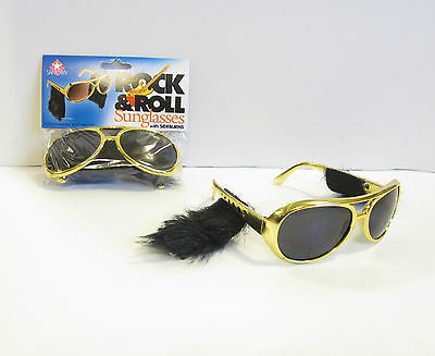 1 Pair Of Gold Rock & Roll Sun Glasses With Sideburns Elvis Sunglasses Costume
