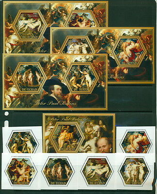 Chad MNH stamp set Peter Paul Rubens Art Nude Paintings 6val + s/s + 3 de-luxe