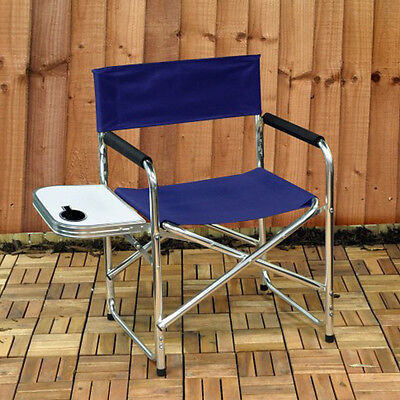 Set of 2 x Kingfisher Directors Garden Chairs With Folding Side Table