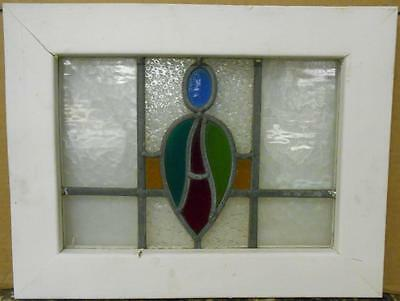 "OLD ENGLISH LEADED STAINED GLASS WINDOW Colorful Abstract Design 19.25"" x 15"""