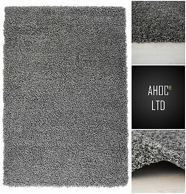 Grey Shaggy Rugs Small X Large Modern Plain 5cm Thick Soft Pile Area Rug Mats