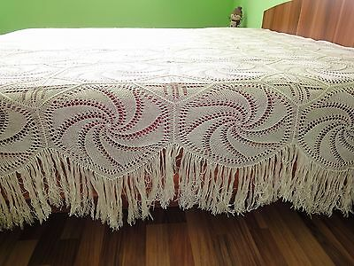 Beautiful  Vintage Handmade Ivory Cotton Crochet Bedspread Coverlet with Fringes