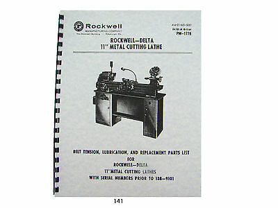 "Rockwell - Delta 11"" Lathe Lube and Parts List & Breakdown Manual"