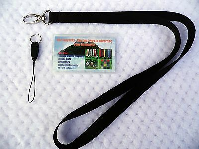 1 x Black Lanyard, Neck Strap with Stylish Lobster Clip &  Clear ID Card Holder