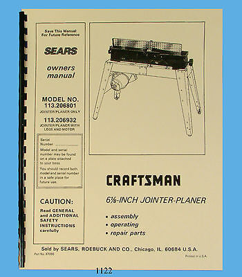 "Sears Craftsman 6""Jointer 113.206801 & 113.206932 Operating & Parts Manual *1122"