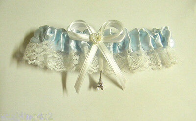 Wedding Party Ceremony ~Romantic Paris Eiffel Tower~  Satin & Lace Garter Blue