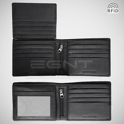 EGNT. Card Holder RFID GENUINE LEATHER SAFFIANO + CARBON BIFOLD WALLET SLIM MENS