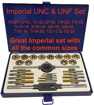 Imperial UNC UNF Tap and Die Set 3/16 1/4 5/16 3/8 7/16 1/2 Boxed Kit Taps SAE