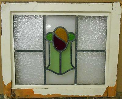 "OLD ENGLISH LEADED STAINED GLASS WINDOW Cute Abstract Design 20.5"" x 16.75"""
