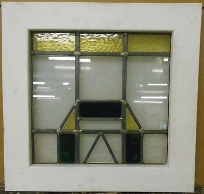 "OLD ENGLISH LEADED STAINED GLASS WINDOW Nice Geometric Design 18"" x 17.5"""