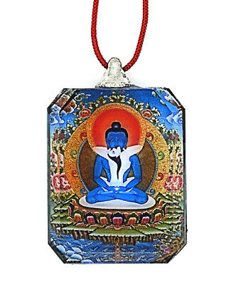 Buddhist Pendant & Crystal SAMANTABHADRA AND CONSORT & Necklace 2 Pieces