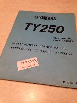 Yamaha TY250 type 516 250 TY additif manuel atelier workshop service Manual