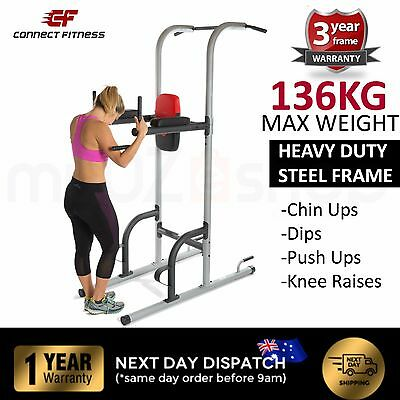 CONNECT FITNESS Chin Up Dip Station Power Tower Exercise Home Gym Push Pull
