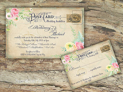 Personalised Vintage Postcard Pastel Floral Wedding Invitations Packs Of 10