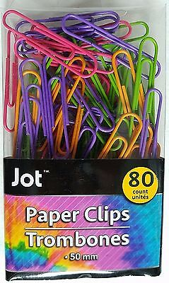 JUMBO PAPER CLIPS NEON MULTI-COLOR Metal Vinyl Coated  2 inch/50mm 80 Ct/Pack