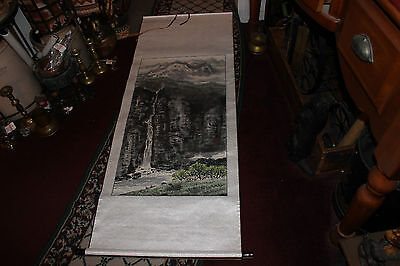 Chinese Japanese Tapestry Scroll-Signed & Stamped-Large-Mountains Waterfall