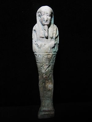 Zurqieh - Ancient Egypt, Beautiful Inscribed With Hieroglyphs Faience Ushabti