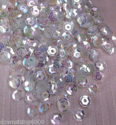 Sequins 4mm Oyster White Diamond Clear AB Flat Cup Choose Pack Size