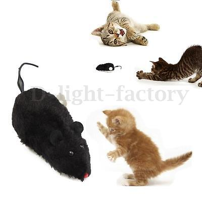 Wind Up Furry Running Moving Tail Mouse Rat Cat Kitten Funny Toy Joke Gag Gift