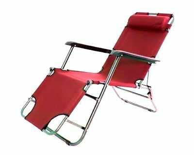 Red Garden Sun Lounger Sun Bed Pool Recliner Reclining Folding Furniture Chair