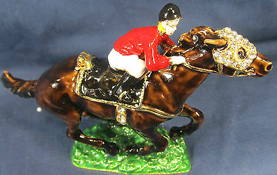 Race Horse and Jockey Jeweled Pewter Trinket Box Sports Decor
