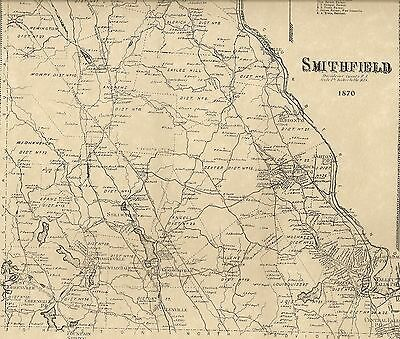 Smithfield Greenville Georgiaville RI 1870 Map with Homeowners Names Shown