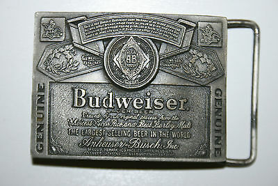 Wow Vintage Budweiser Beer Solid Brass Belt Buckle In Minty VHTF Condition
